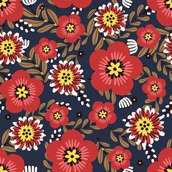 枝と葉、シームレスなパターンと赤い花の花輪アイビースタイル