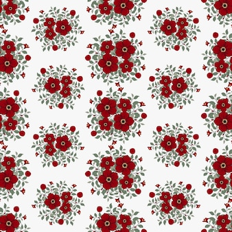 Red flowers wreath ivy style with branch and leaves, seamless pattern