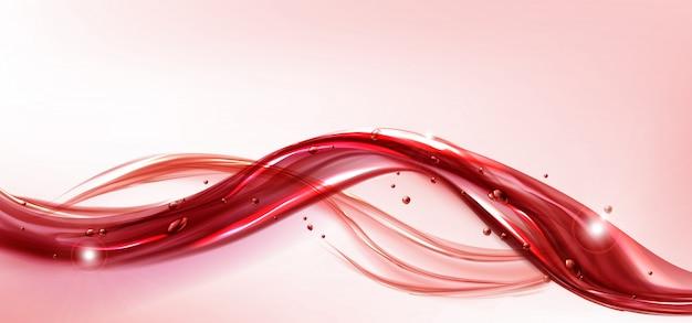 赤い流れる液体スプラッシュ現実的なジュースまたはワイン