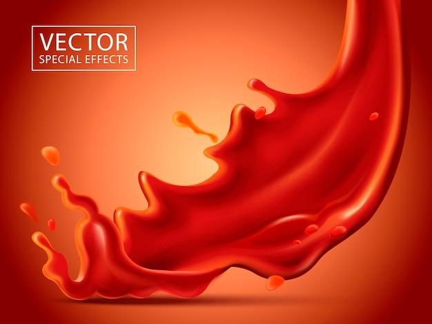 붉은 액체 효과, 고립 된 빨간색 배경 아래로 부 어