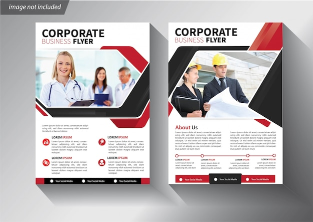 Red flyer template for brochure corporate