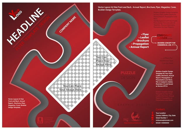 Red flyer template with puzzle shape - modern abstract illustration for your use, vector