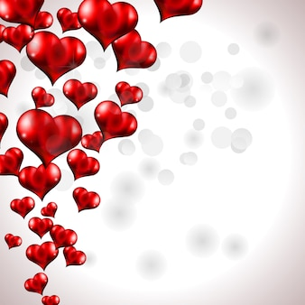 Red flying heart background for valentine's day, square size