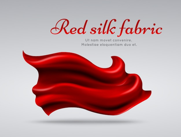 Red flying silk fabric abstact vector background