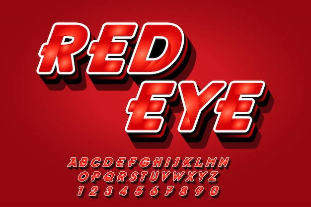 Red font effects style in 3d