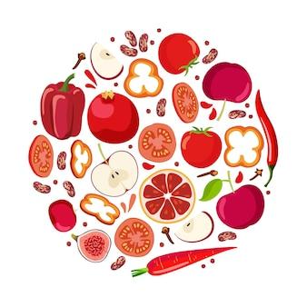 빨간 음식 둥근 모양의 빨간 야채 과일