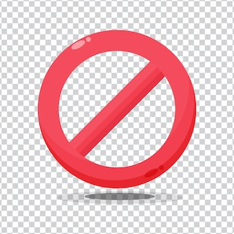 空白の背景に赤い禁止記号警告アイコンなし