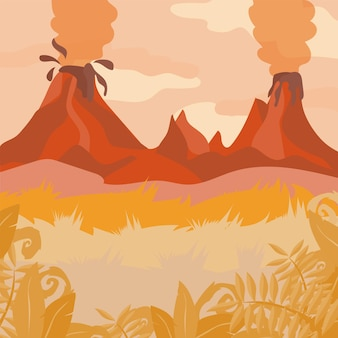 A red forest landscape with volcano and jungle plants - vector