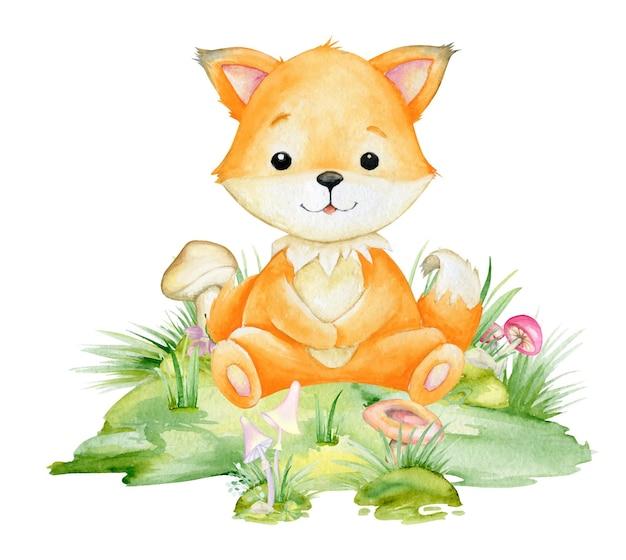 アカギツネ、漫画風のかわいい動物。孤立した背景に森の動物の水彩クリップアート。