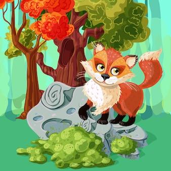 Red fox мультяшный стиль дизайн