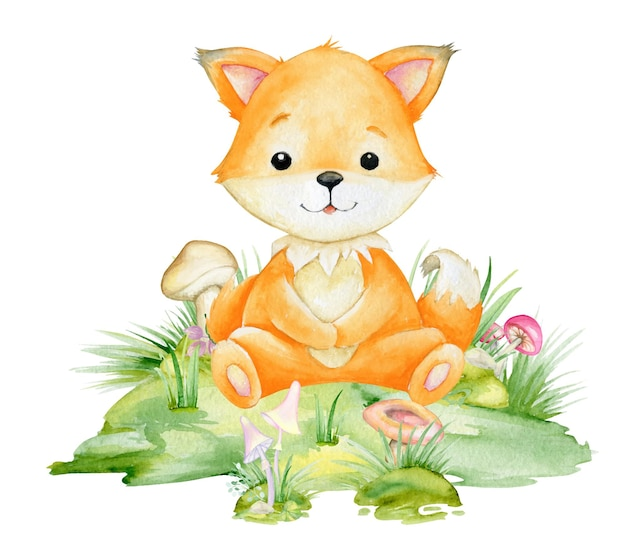 Red fox, a cute animal in a cartoon style. watercolor clipart of a forest animal on an isolated background.