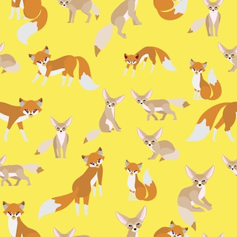 Red fox and fennec fox seamless pattern
