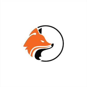 붉은 여우 로고 간단한 원형 원