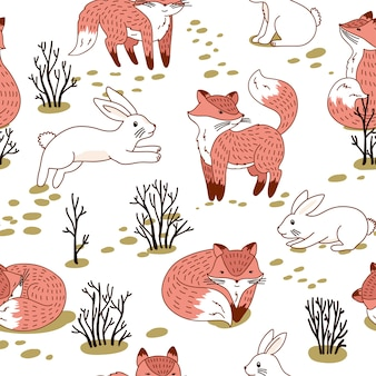 Рыжие лисы и заяц-беляк в лесу. бесшовные модели с диким лесным животным.