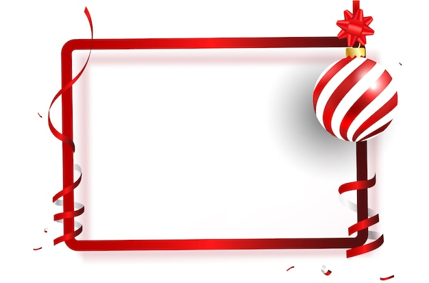 Red frame ribbon and bow on black background.
