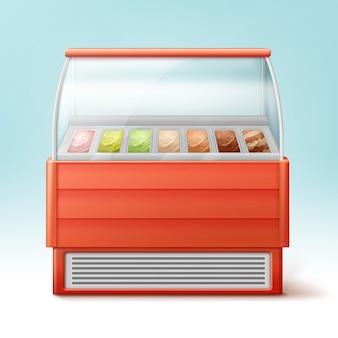 Frigo rosso per gelato con varietà di gusti isolati