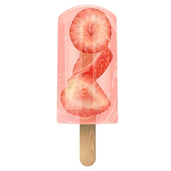 Red fruit ice cream popsicle with strawberry. realistic stock transparent vector illustration 3d on white background