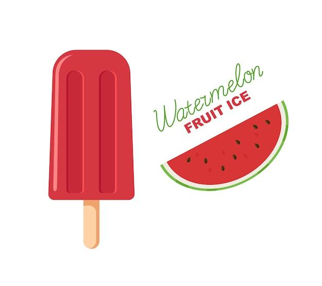 붉은 과일 얼음. 막대기에 수박 아이스 캔디입니다. 글자와 그림.