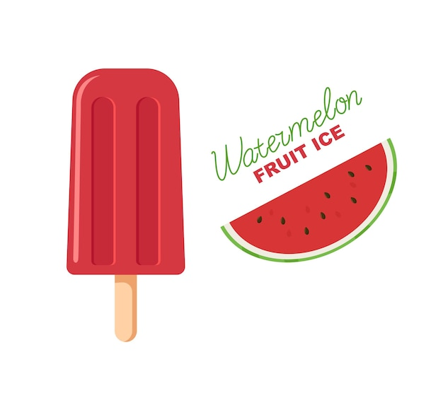 Red fruit ice. watermelon popsicle on a stick. lettering and picture.