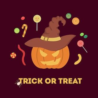 Красный забавный тыквенный трюк или баннер лечения. украшение на хэллоуин