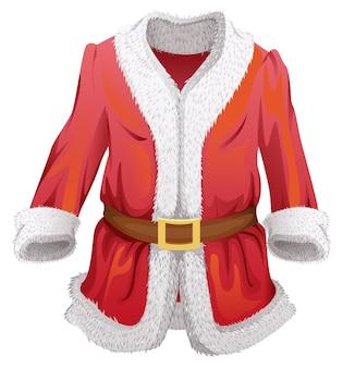Red fur coat of santa claus. isolated on white cartoon illustration