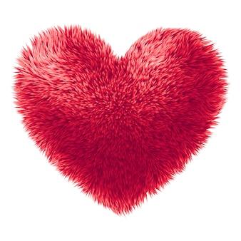 Красное меховое сердце на белом фоне
