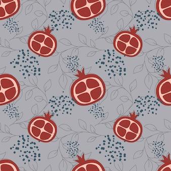 무한 패턴의 파란색 배경 과일 원활한 패턴 벡터 일러스트 레이 션에 빨간 가닛