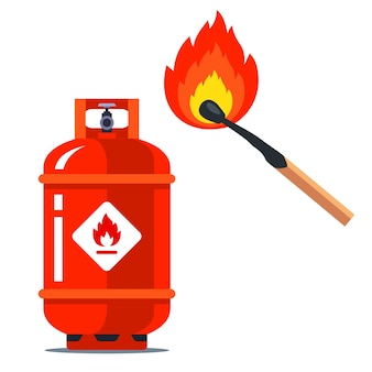 A red gas can next to a burning match. flammable situation.   illustration  on white background.