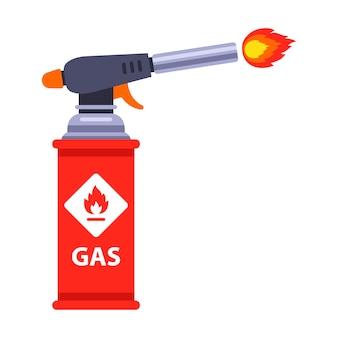 Красный газовый баллончик испускает пламя. плоский рисунок изолированы.