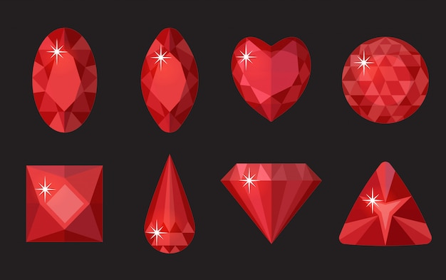 赤い宝石を設定します。ジュエリー、クリスタルコレクションは黒い背景に分離されました。ルビー、さまざまな形のダイヤモンド、カット。カラフルな赤い宝石。現実的な漫画のスタイル。イラスト、クリップアート