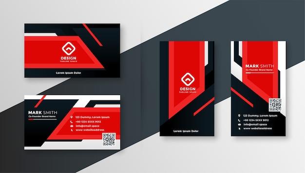 Red geometric business card modern design template