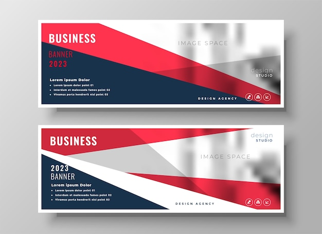 Red geometric business facebook cover template design