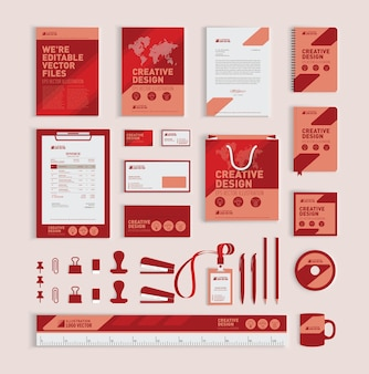 Red geometric corporate identity design template