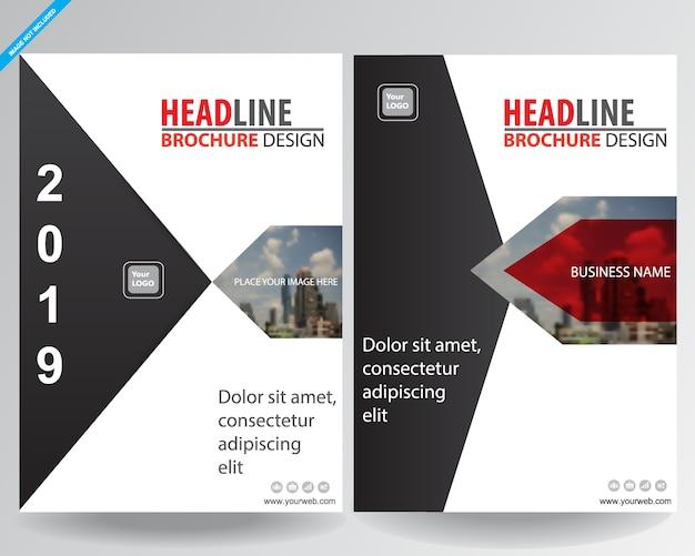赤い幾何学チラシをカバービジネスパンフレットのベクトル設計