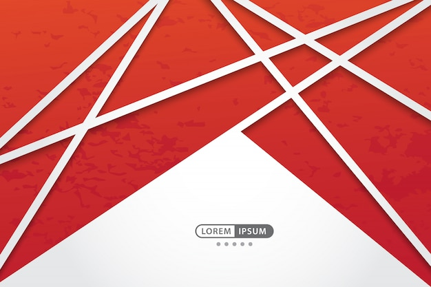Red geometric vector background with abstract line style