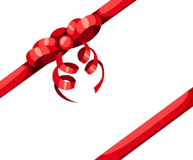 Red gift bow and two diagonal ribbon  illustration  on white background