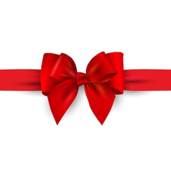 Red  gift bow with ribbon isolated on white