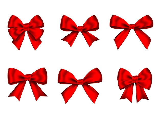 Red gift bows set isolated on white
