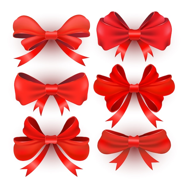 Red gift bows with ribbons