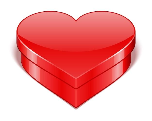 Красная подарочная коробка в виде сердечка на день святого валентина