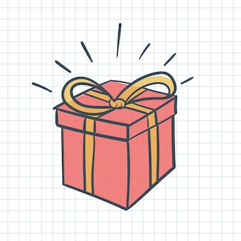 Red gift box doodle style outline with color