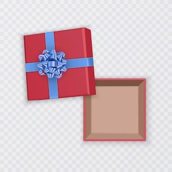 青い弓、上面図、開いた空の正方形の段ボール箱、分離された赤いギフトボックス