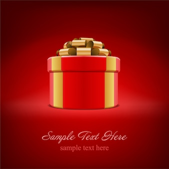 Red gift box with gold bow and ribbon on red  with   illustration