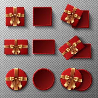 Red gift box with gold ribbon set