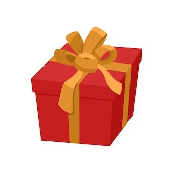 Красная подарочная коробка с золотой лентой и атласным бантом