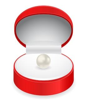 Красная подарочная коробка с жемчугом