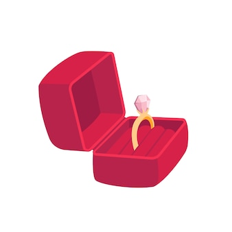 반지와 함께 빨간색 선물 상자입니다. 휴일을위한 여자 선물입니다. 흰색 배경에 고립.