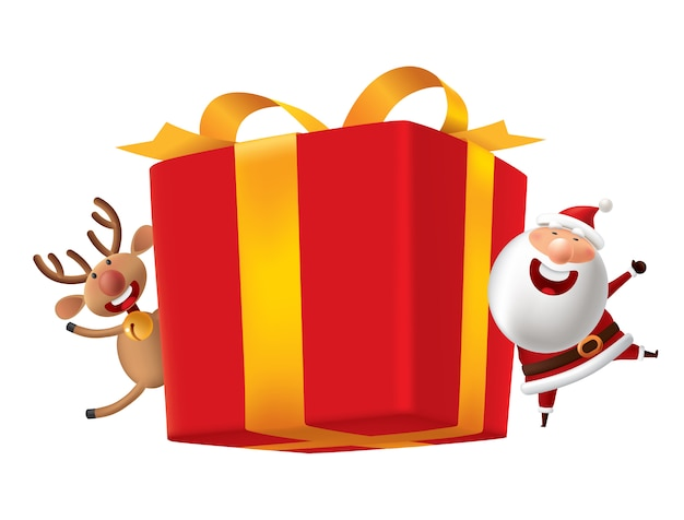 Red gift box with santa claus and deer