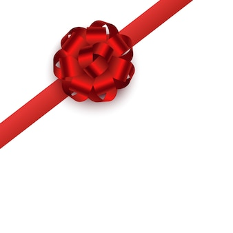 Red gift ribbon with round rosette bow placed on corner, realistic . present boxes or greeting cards textile decor.