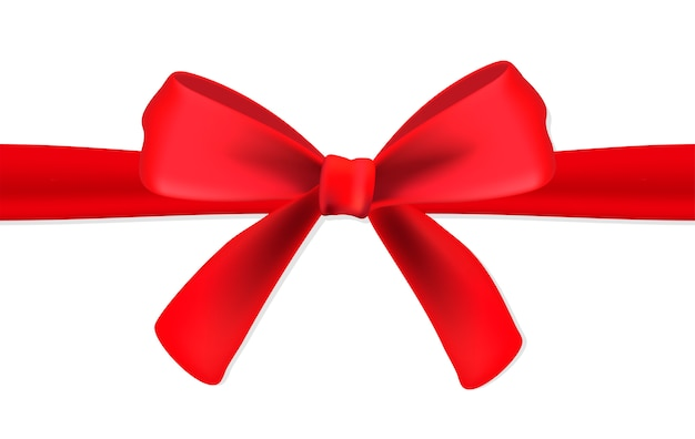 Red gift satin ribbon with a bow